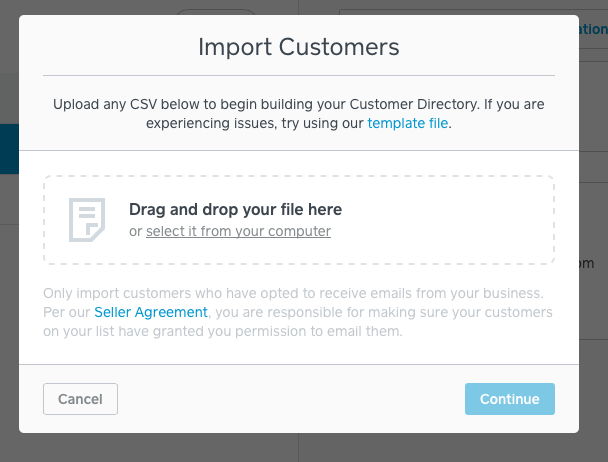 Import customer pop-up modal. Drag and drop your customer list here.