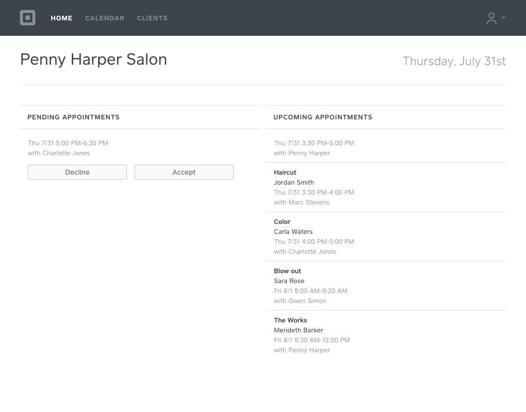 Image of Home page on your Staff account showing your pending and upcoming appointments