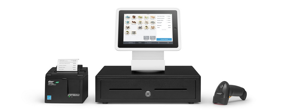 Square Stand Cash Drawer Receipt Printer And Barcode Scanner