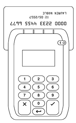 Swipe the magstripe card through the slot located at the top of the reader.