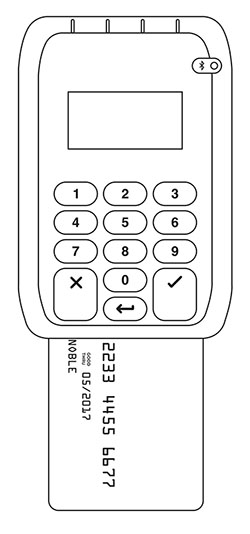 Insert the chip card into the slot at the bottom of the reader and hold it in place.