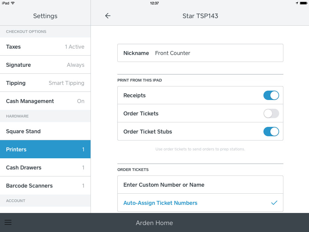 How to customise order tickets on the iPad
