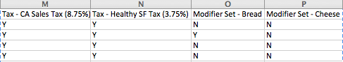 Edit your tax and modifier preferences from the item import csv